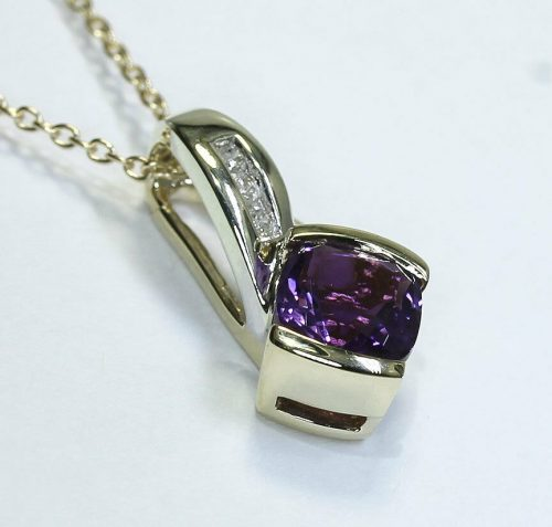 Diamond amethyst pendant necklace-adina-jewelers