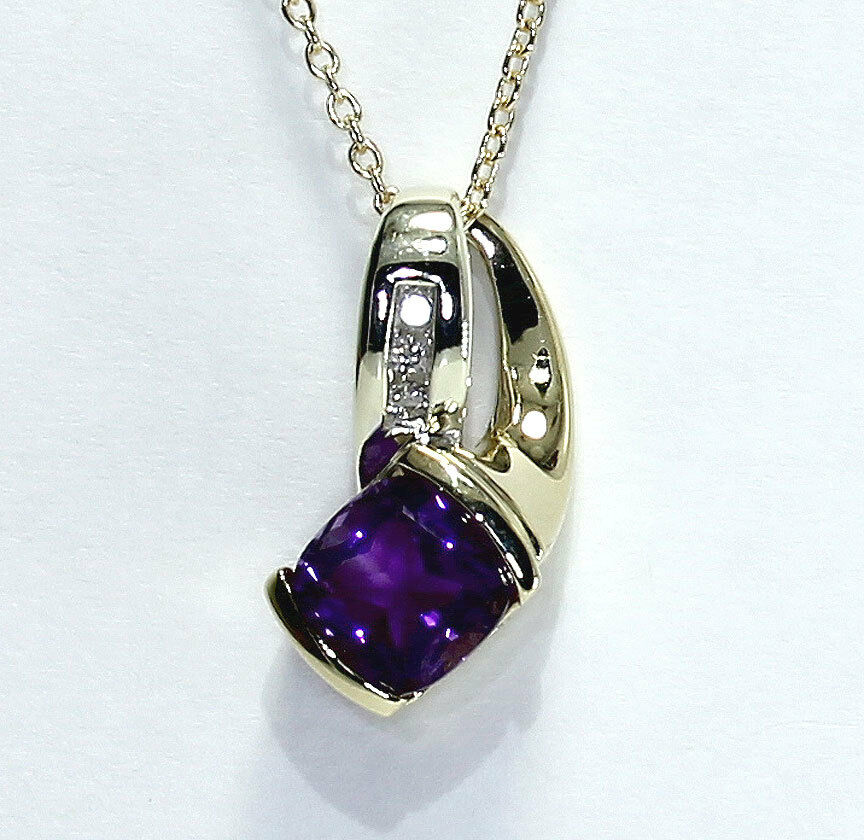 Diamond amethyst pendant necklace