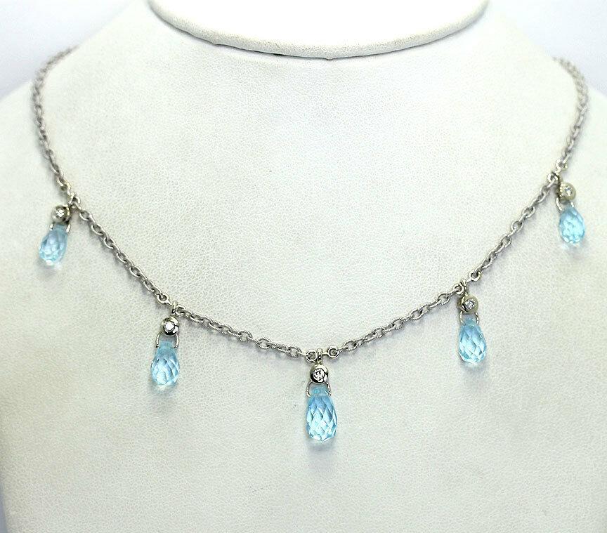 Diamond blue topaz drop necklace