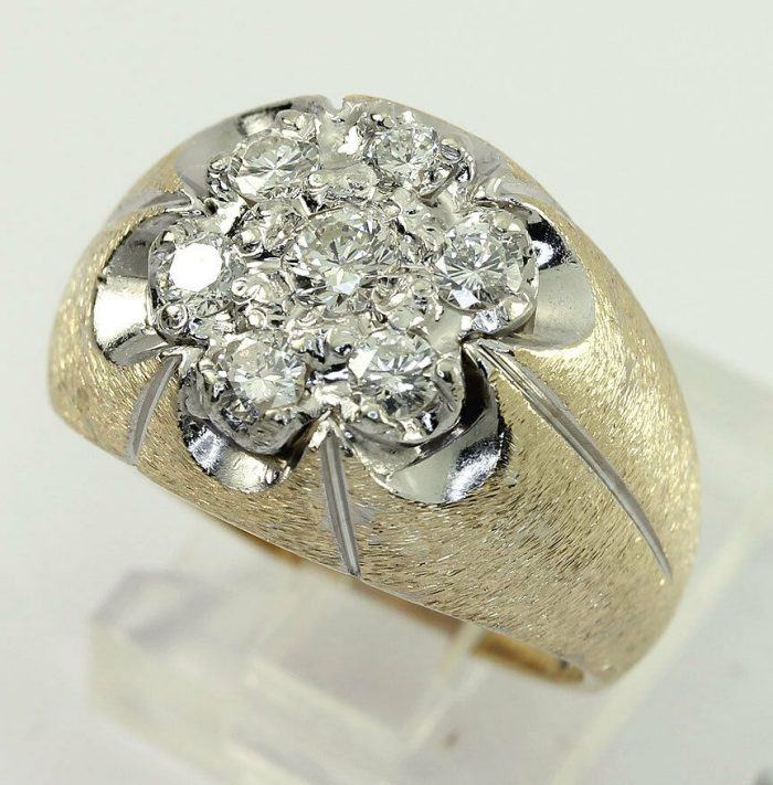 Diamond cluster Florentine ring-adina-jewelers