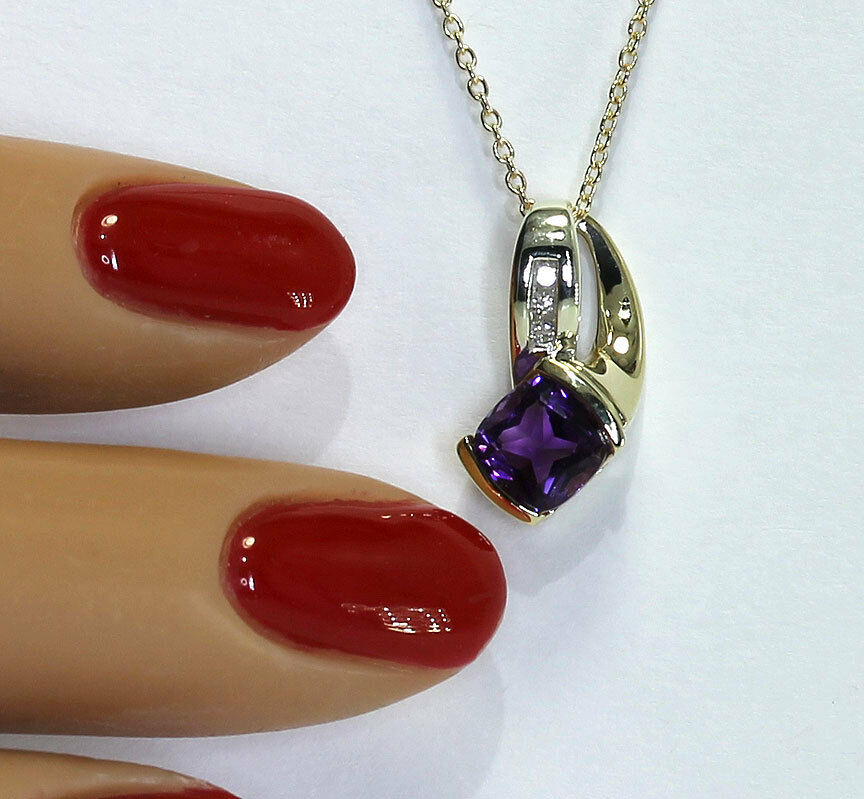 Diamond-gold-amethyst pendant necklace