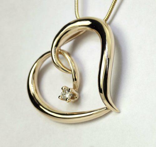 Diamond sculptured heart pendant necklace-adina-jewelers
