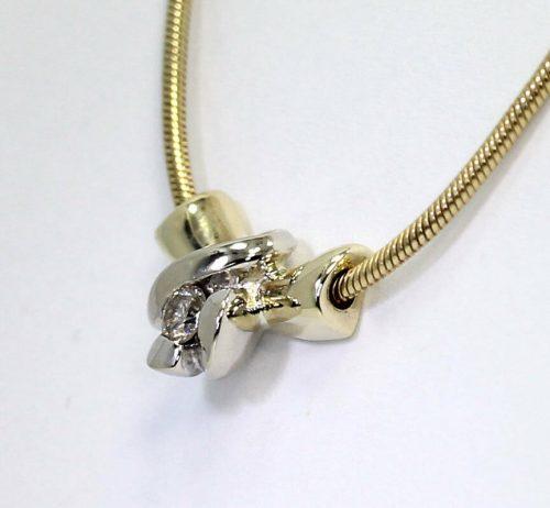 Diamond solitaire sculpted pendant necklace-adina-jewelers