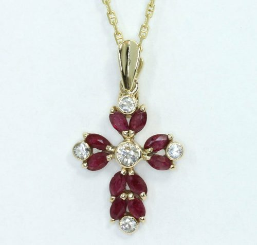 Ruby cross enhancer pendant necklace