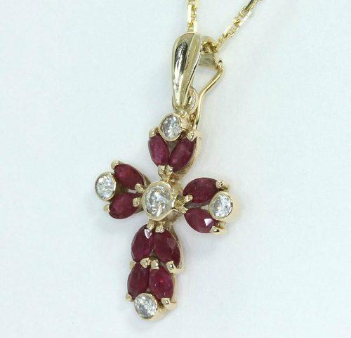 Ruby cross enhancer pendant necklace-adina-jewelers