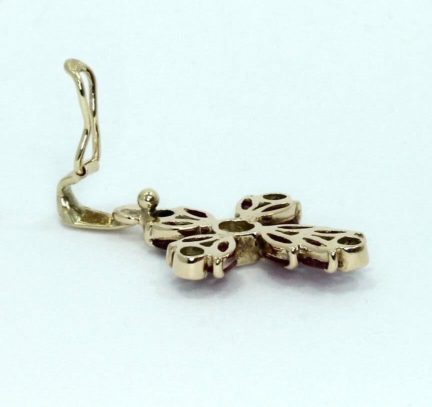 Ruby cross enhancer pendant necklace-gold