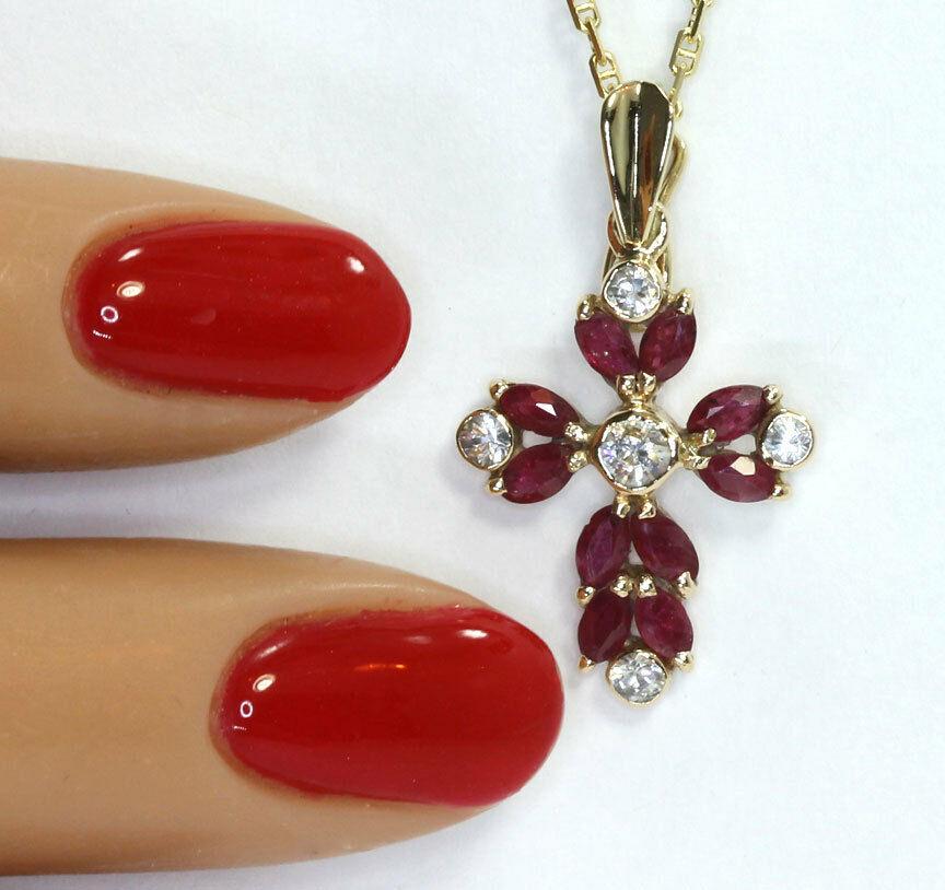 affordable-Ruby cross enhancer pendant necklace