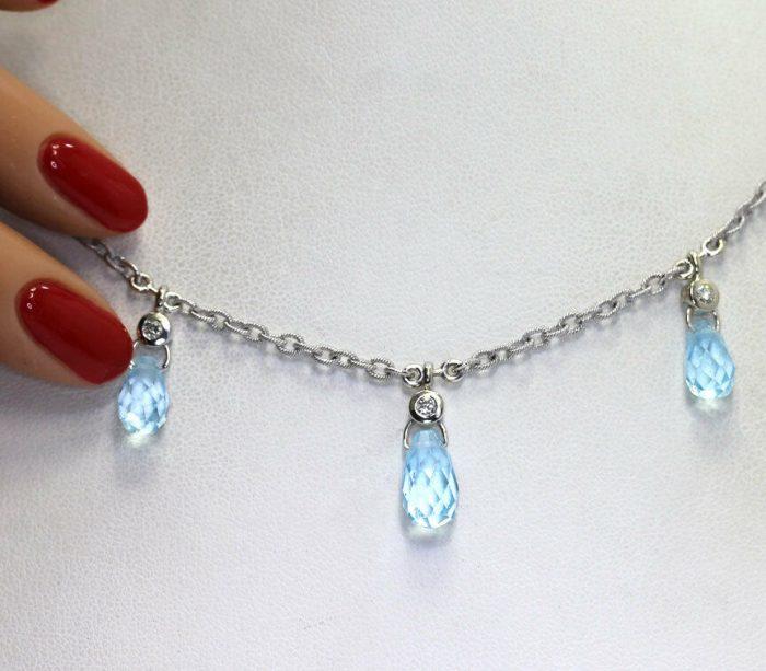 fancy-Diamond blue topaz drop necklace