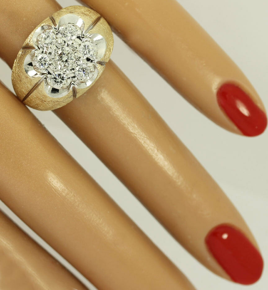gold Diamond cluster Florentine ring