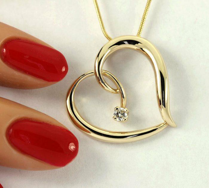 gold-Diamond sculptured heart pendant necklace-adina-jewelers