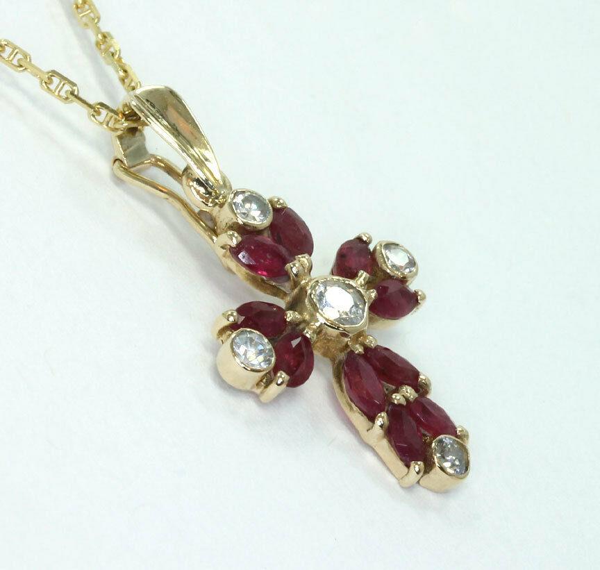 gold-Ruby cross enhancer pendant necklace