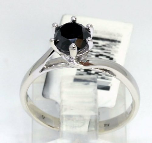 new-black diamond solitaire engagement ring-white-gold