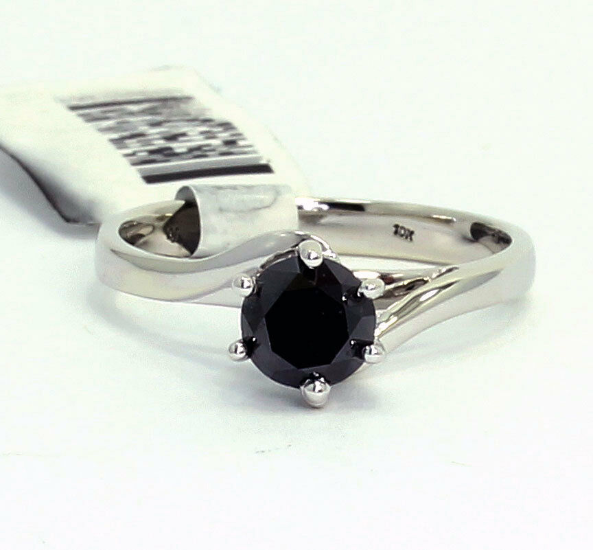 new-black diamond solitaire engagement ring